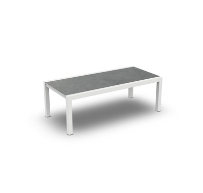 Livorno Extendable Dining Table Alu White Mat Ceramic Cement Grey 220-330X106