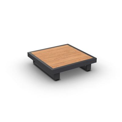Fano Coffee Table Alu Charcoal Mat Teak Wood 90X90