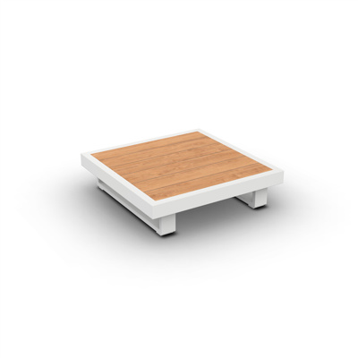 Fano Coffee Table Alu White Mat Teak Wood 90X90
