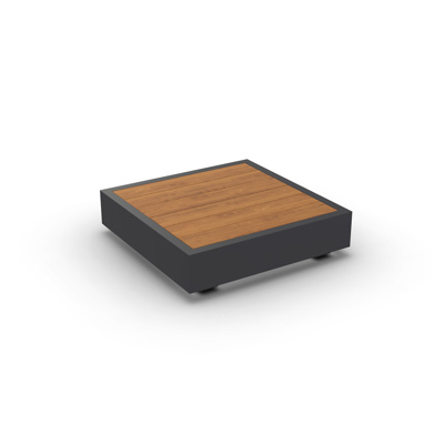 Bari Coffee Table Alu Charcoal Mat Teak Wood 90X90