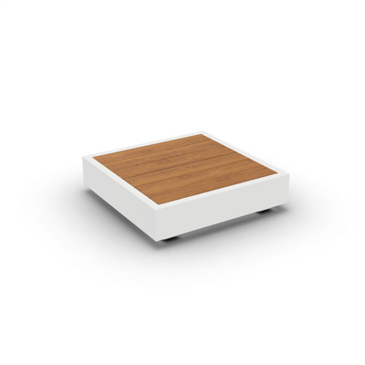 Bari Coffee Table Alu White Mat Teak Wood 90X90