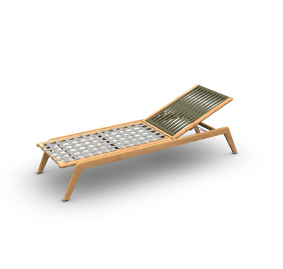 Ritz Teak Sunlounger Wood Teak Rope Straight Weaving Khaki
