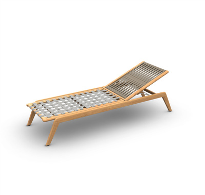 Ritz Teak Sunlounger Wood Teak Rope Straight Weaving Taupe