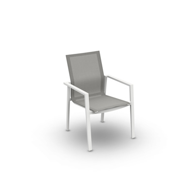 Beja Stackable Arm Chair Alu White Mat