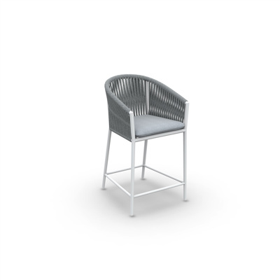 Fortuna Rope Bar Chair With Arms Alu White Mat Rope Straight Weaving L Grey Melange Seat Cushion Sunbrella Grey Chine