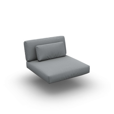Lounge Cushion Seat + Back + Deco Single Sunbrella Grey Chine