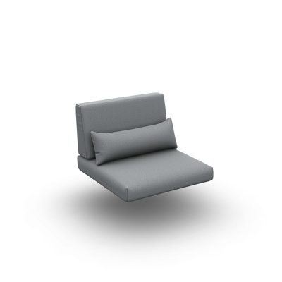 Reno Cushion Seat + Back + Deco Single Sunbrella Grey Chine