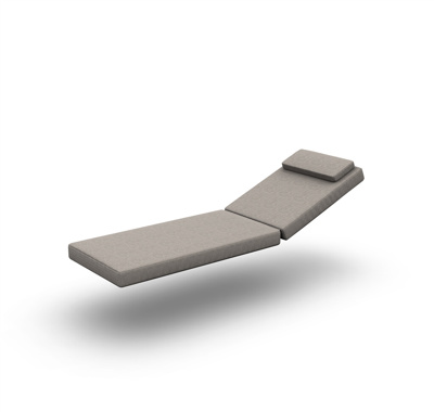 Ritz Teak Cushion Sunlounger Single 2 Parts Sunbrella Nature Grey