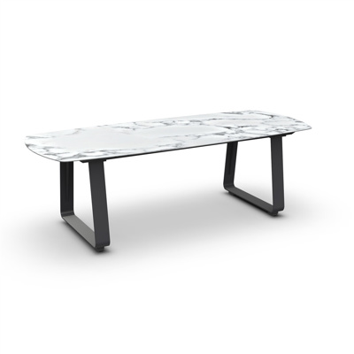 Elko Dining Table Alu Charcoal Mat Ceramic Graduario 240X100