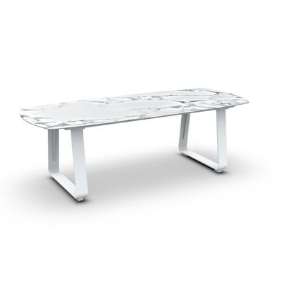 Elko Dining Table Alu White Mat Ceramic Graduario 240X100