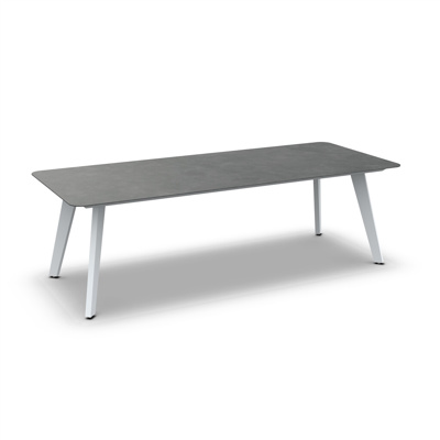 Ritz Alu Dining Table Alu White Mat Ceramic Cement Grey 240X100