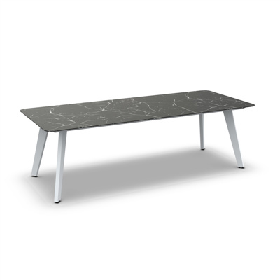 Ritz Alu Dining Table Alu White Mat Ceramic Dark Marble 240X100