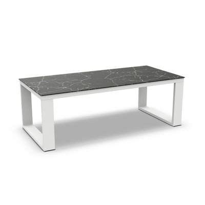 Linate Dining Table Alu White Mat Ceramic Dark Marble 220X100