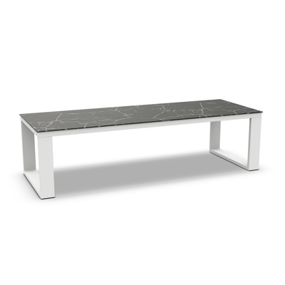 Linate Dining Table Alu White Mat Ceramic Dark Marble 280X100