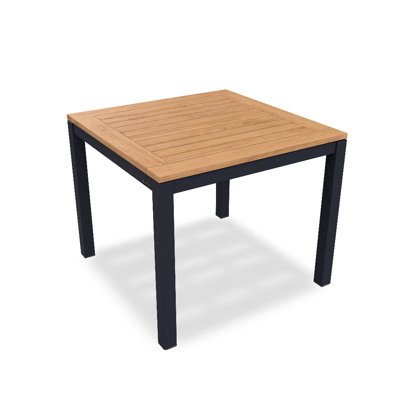 Lugo Dining Table Alu Charcoal Mat Teak Wood 90X90