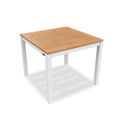 Lugo Dining Table Alu White Mat Teak Wood 90X90