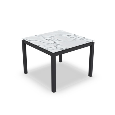 Lugo Dining Table Alu Charcoal Mat Ceramic Graduario 100X100