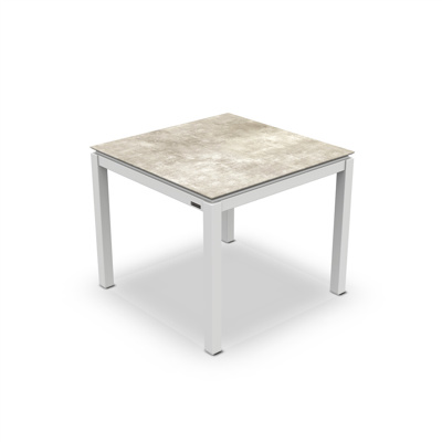 Lugo Dining Table Alu White Mat HPL Grigio Granite/Nero Granite Switch 90X90
