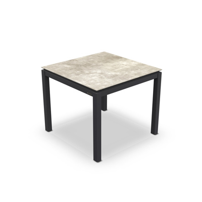 Lugo Dining Table Alu Charcoal Mat HPL Grigio Granite/Nero Granite Switch 90X90