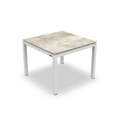 Lugo Dining Table Alu White Mat HPL Grigio Granite/Nero Granite Switch 100X100
