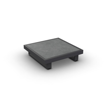 Fano Coffee Table Alu Charcoal Mat Ceramic Cement Grey 90X90