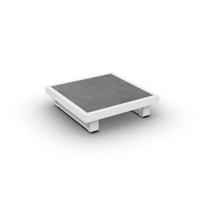 Fano Coffee Table Alu White Mat Ceramic Cement Grey 90X90