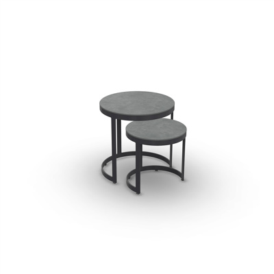 Bertus Side Table Set Alu Charcoal Mat Ceramic Cement Grey D35+45