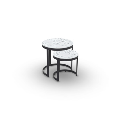 Bertus Side Table Set Alu Charcoal Mat Ceramic Graduario D35+45