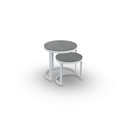Bertus Side Table Set Alu White Mat Ceramic Cement Grey D35+45