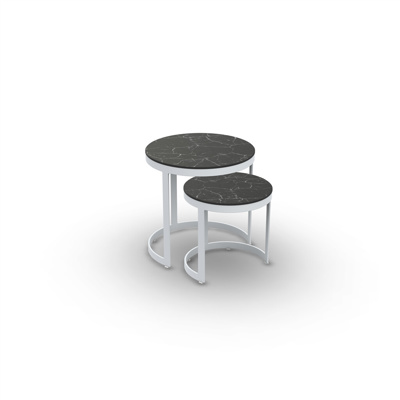 Bertus Side Table Set Alu White Mat Ceramic Dark Marble D35+45