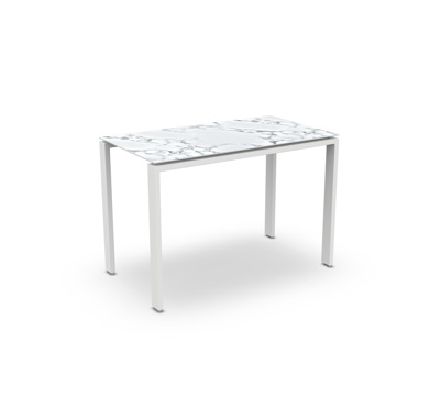 Arolla Bar Table Alu White Mat Teak Ceramic Graduario 160X90